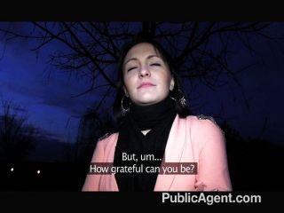 Publicagent black haired babe fucks hard