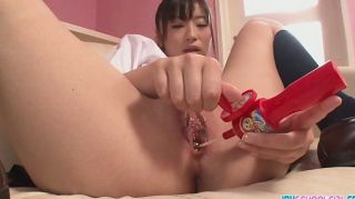 Asiática estudante prazer seu twat com um brinquedo