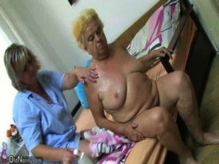 Maduro, mulher, usando, vibrador, chubby, avó
