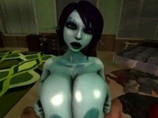 Soria usa seus peitos oleados grandes para o titty fucking
