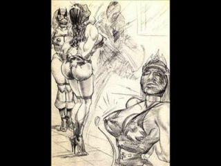 Amazonas, dominar, misturado, wrestling, lésbica, wrestling, arte, quadrinhos