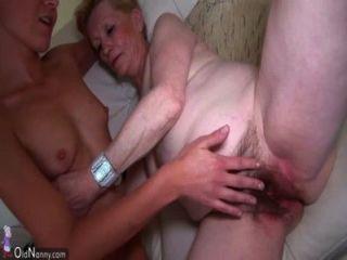 Jovem, mulher, antigas, avó, masturbated