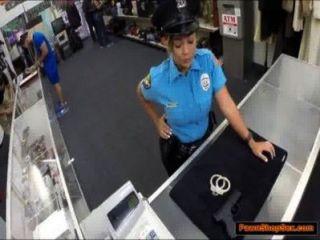 Policial, peões, dela, arma, é, fodido