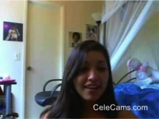 Bonito, menina, tira, webcam