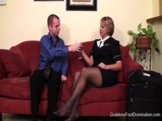Stewardess vôo footjob