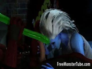 Hot 3d babe fica lambido e fodido por deadpool