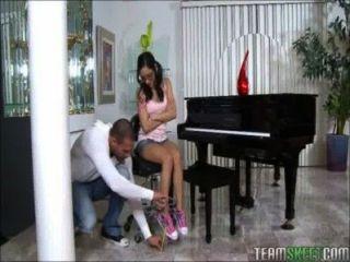 Pequeno, adolescente, piano, jogador, jogos, enorme, galo
