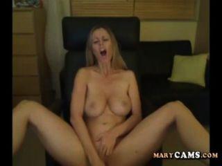 Amador, loira, menina, jogo, dela, vibrador, webcam