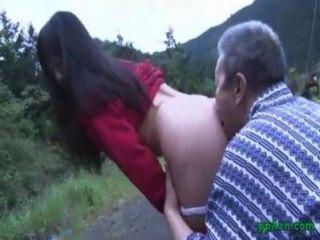 Asiático, menina, obtendo, seu, buceta, lambido, fodido, antigas, homem, cum, ass, ao ar livre