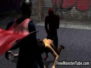 Foxy 3d babe ficando fodido duro por spiderman