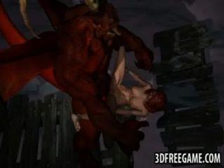 Sexy 3d ruiva obtém fodido duro por um demônio alado
