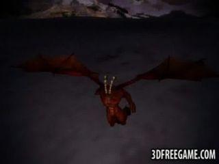 3d ruiva obtém fodido duro por um demônio alado