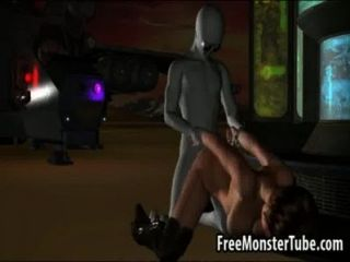 Bebê 3d de cabelos curtos sendo fodido por um alienígena