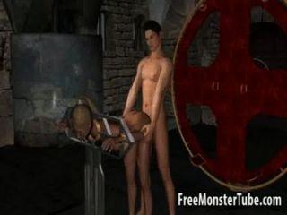 Menina 3d loira fica fodida por um vampiro