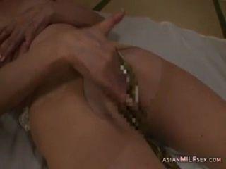 Maduro, mulher, pantyhose, masturbating, fingering, usando, vibrador, m