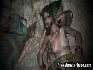 Babe 3d de cabelo verde sendo fodido por uma máquina