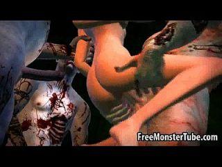 Bicho de desenhos animados 3d recebe gangues golpeados por alguns zumbis