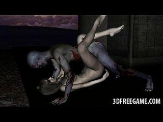 sexy 3d zombie babe obtém sua bichano licked e fodido