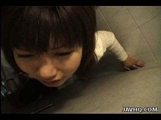 Slutty Asian slut is doggy style fucked in the toilet