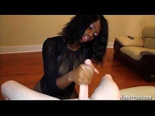 Ebony adolescente ama big boners