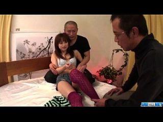 minúsculo, miina yoshihara sente-se carente de foder em trio