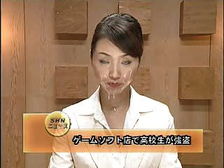 Asian newsreader bukkake 1