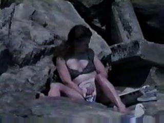 Preso, masturbando, praia