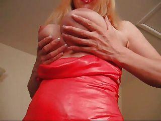 F60 big boobs senhora vestido vermelho