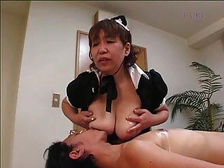 Empregada doméstica peludo japonesa da grannie !!!!