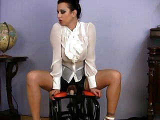 Busty, vestido, milf, sexo, professor, equitação, sexo, máquina