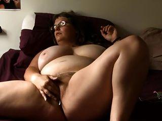 Bbw, menina, vidro, masturbates, cama