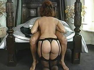 Clássico, grande, breasted, mulher, desfrutando, dela, homem