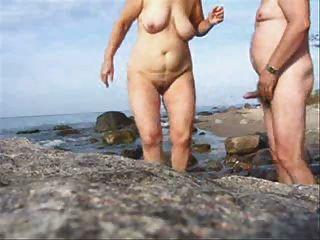 Maduro, par, sexo, praia, desgaste, tweed