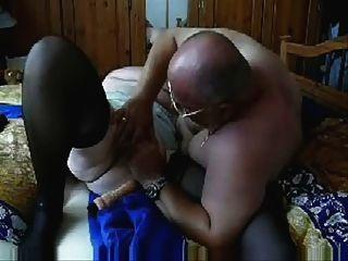 Velho, slut, 73, anos, tendo, divertimento, marido