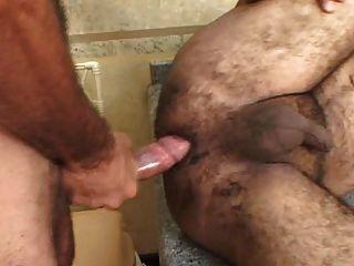 Brasileiro chubby, urso, levando, duro, pau, profundo, dentro