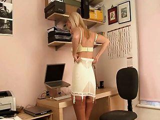 Britânico, loiro, secretária, vestido, seu, ereto