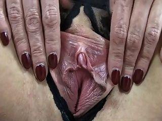 Madura, com, saggy, peitos, mostrando, muito, enorme, mamilos