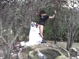 Noiva após o casamento.Photoshoot para seu marido o.o