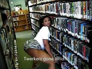 (Lmfao !!) ébano milf booty twerking na biblioteca ameman