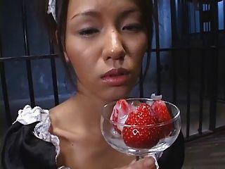 Morango japonês de alimentos com cum