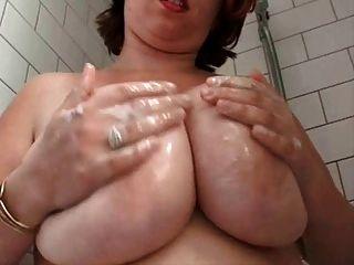 Gorda, peludo, peludo, esposa, Chuveiro