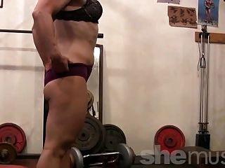 Maduro, loiro, trabalhos, pernas, ginásio