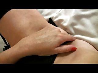 Pequeno, breasted, maduro, milf, pretas, meias, dedos