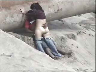 Latino, par, pegado, praia