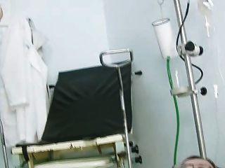 Jane, gatinho, gaping, gyno, cadeira, clínica, durante, espéculo