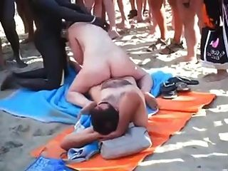 Voyeur, praia, grupo, sexo, praia, frente, everyone.