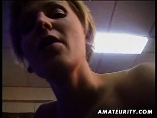 Busty loira amador esposa chupa e fode com corrida