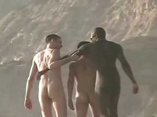Rapazes nus na praia
