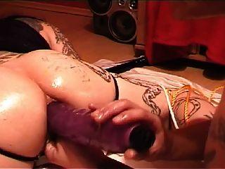Tatuado, escravo, gigante, anal, dildos
