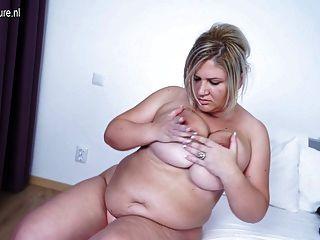Grande, breasted, maduras, mãe, trabalhando, dela, castor